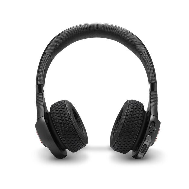 UA Sport Wireless Train – Engineered by JBL - Black / Red - Wireless on-ear headphone built for the gym - Front