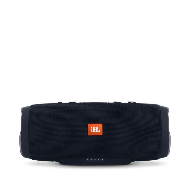 JBL Charge 3 - Black - Full-featured waterproof portable speaker with high-capacity battery to charge your devices - Front
