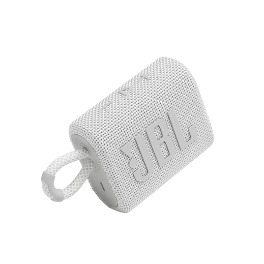 JBL GO 3 - White - Portable Waterproof Speaker - Detailshot 1