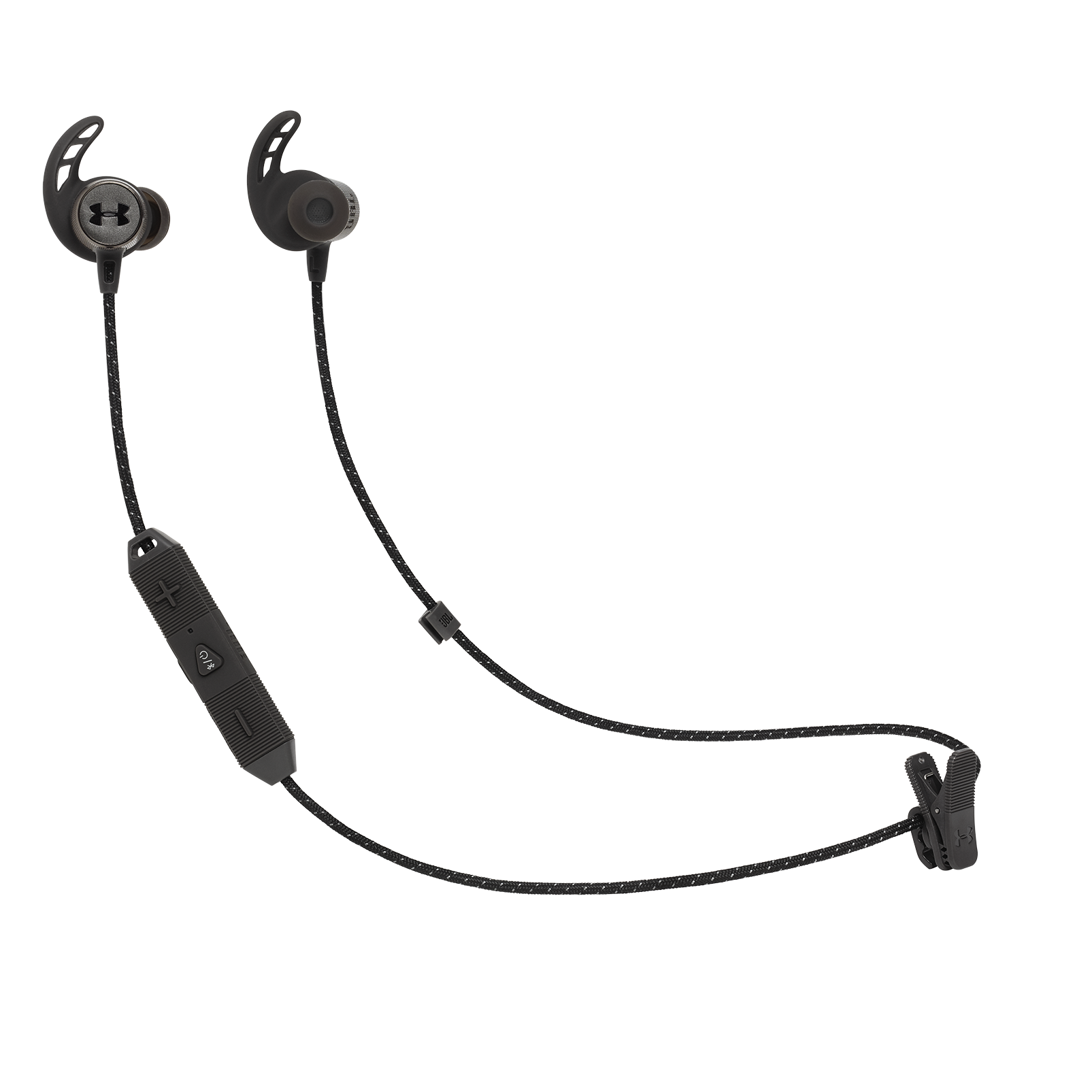 UA Sport Wireless REACT - Black - Secure-fitting wireless sport earphones with JBL technology and sound - Hero